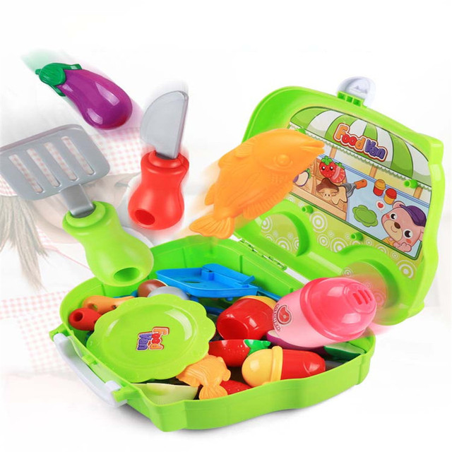 Kitchen Cooking Utensils Dressing Table Hamburger Suitcase Cart Trolley Family Education Girls Children Colorful Simulation Toys
