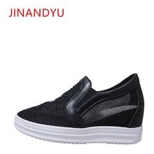 Mesh Hidden Platform High Heel Wedges Sneakers 2019 Summer Rhinestone Elegant Trendy Comfort Breathable Casual Shoes for Woman