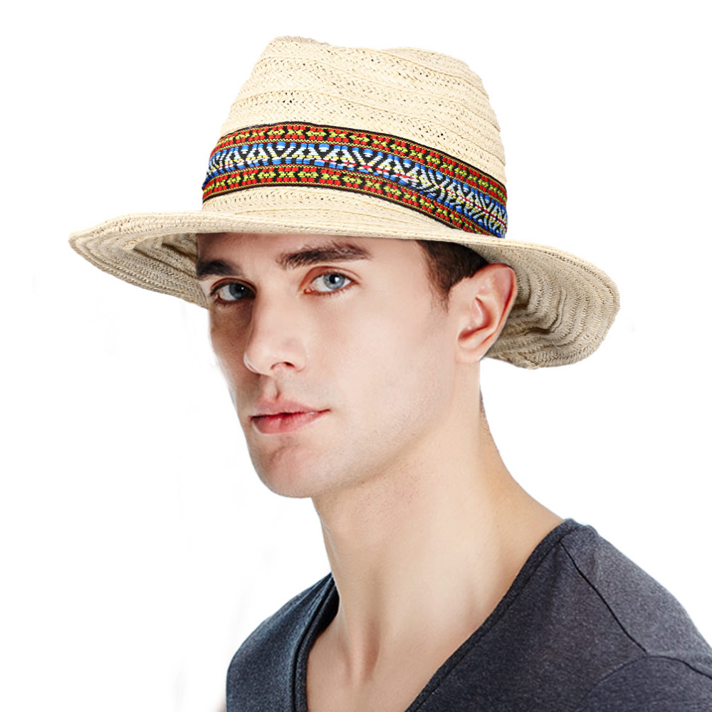 Vbiger Men Women Straw Sun Hat Foldable Wide Brim Hat Floppy Hat Beach Hat  Portable Summer Outdoor Cap Ribbon Decor-in Sun Hats from Apparel  Accessories on ... ebcbee99dc03