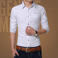 2017 Spring Young Men's Long-Sleeve White Shirts Business Casual Regular Classic-fit Men Cotton Blend Button Down Shirt Comfort