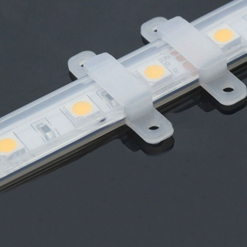 20 Pcs/lot 10mm LED Fixing Silicon Mounting Clips For 220V 3014 3528 5050 Waterproof LED Strip Light Connector For 220V LED Tape
