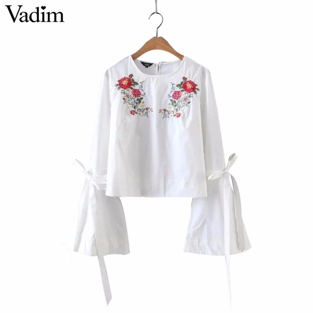 HTB1mdk2RVXXXXcxXpXXq6xXFXXXn - Women sweet flower embroidery flare sleeve shirt long sleeve