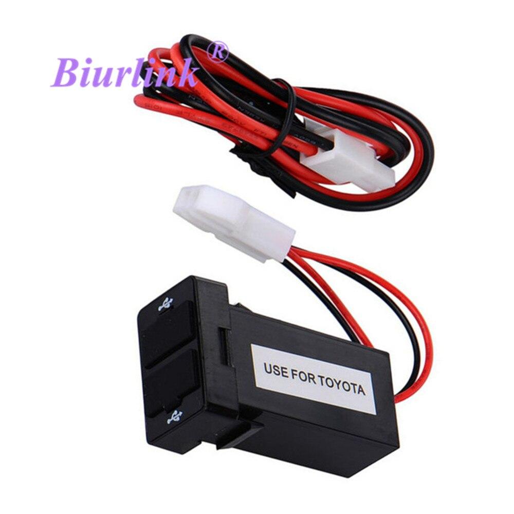 Dual USB Port Chargeur Tableau De Bord De Voiture Panneau USB Connecteur Pour Téléphone Entrée Audio pour Toyota