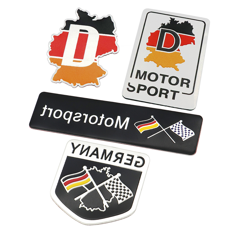 Fashion Germany Flag Collection Deutsch Quality 3D Aluminum Car Auto Badge Emblem 3M Sticker for VW Audi Mercedes Car Styling car chrome abs v6 emblem badge 3d decal trunk auto motor sticker car styling for bmw benz audi ford vw v6 car sticker