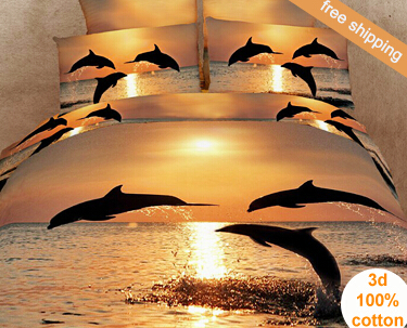 Luxury 3D Dolphins Oil Painting 4pc Bedding Set Duvet /quilt/comforter  Covers Bed Linen Bedsheet Bedcover Sets Full Queen Size In Bedding Sets  From Home ...
