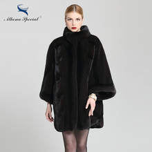 Athena Special 2016 Ladies Luxury Canadian Genuine NAFA Mink Coat Free Size for Women Batwing Sleeve Natural Fur Coat Mink Sale
