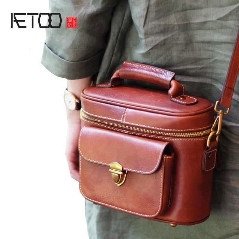 AETOO кожаная сумка в стиле ретро, кожаная сумка ручной работы, коричневая сумка мешок, сумка мешок, индивидуальная Этническая диагональная по