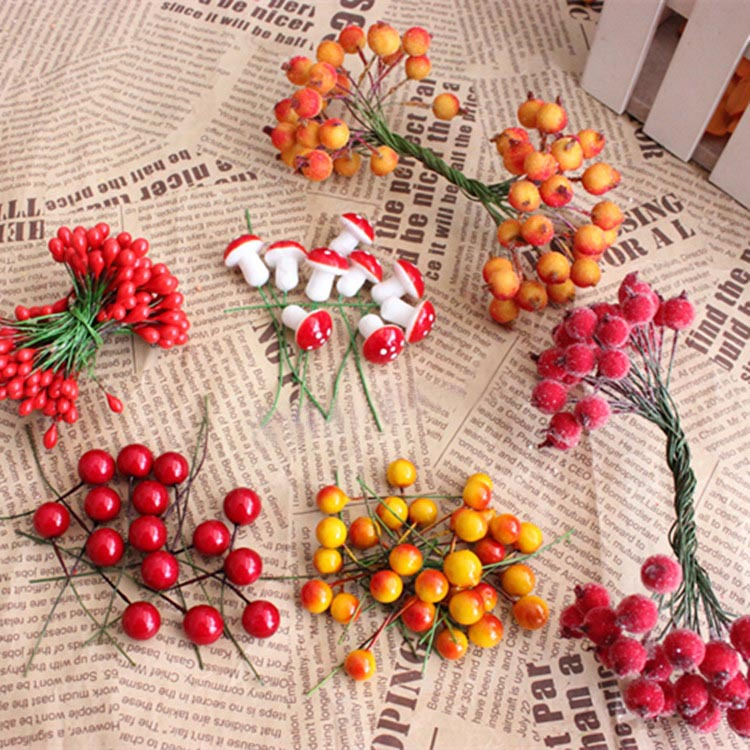 High Quality Mini Fake Fruits Artificial Foam Small Berries,Party Decoration For Hair Garland,DIY Flower Arranging Accessories