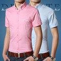 Camisa de luxo Homens 2016 Estilo Verão Marca Chemise Homme Curto manga Coreano Slim Fit Camisas de Vestido Dos Homens de Negócios Formal Plus Size tamanho