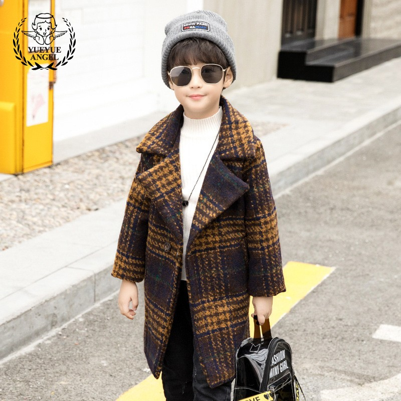 Children Autumn Winter 2018 Baby Coat Boys Long Plaid Wool coat Korean Lapel Jacket Casual Outerwear Thicken Overcoat Kids Boy loose fit casual thicken plaid lace up wool pants for men