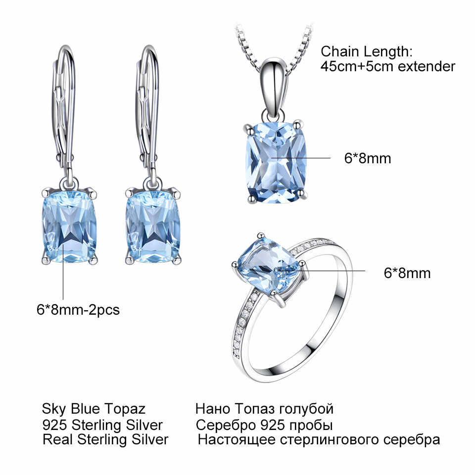 UMCHO Elegant 925 เงินสเตอร์ลิงจี้สร้อยคอแหวนต่างหู Sky Blue Topaz Wedding ชุดเครื่องประดับสำหรับสตรีพร้อมห่วงโซ่