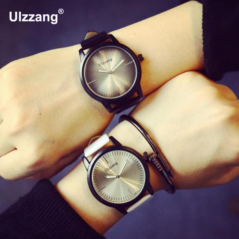 Hot Ulzzang Brand Simple Style Black White PU Leather Casual Quartz Wristwatch Wrist Watch for Men Women Unisex classic ulzzang brand vintage genuine leather women men lovers quartz wrist watch gift black white brown