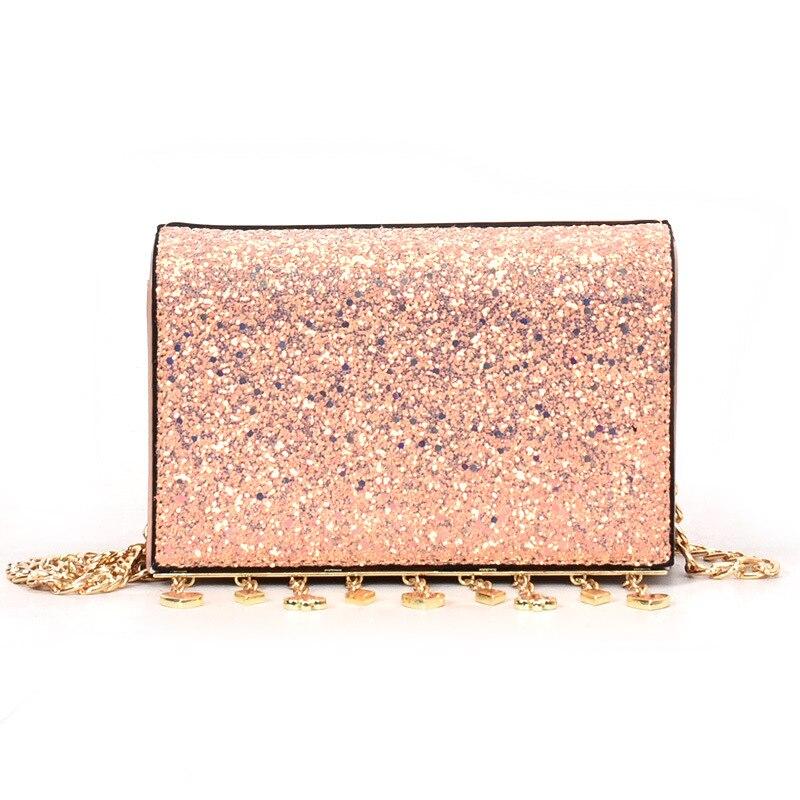 Alta 2018 A pink Cuore Borse Donne Delle Nappe Dell'unità Black Mini Borsa Cuoio Signore Qualità Elaborazione colorful Sacchetti Paillette Lusso Di Classico Tracolla Caldo Modo xwqECIYC