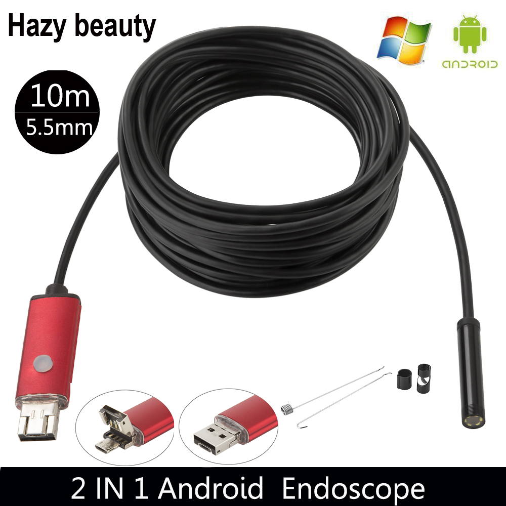 Hazy beauty Waterproof USB Endoscope 10M Cable 6LED 5.5mm Borescope Inspection Wire Camera With Mini Camera Mirror Hook Magnet eyoyo nts200 endoscope inspection camera with 3 5 inch lcd monitor 8 2mm diameter 2 meters tube borescope zoom rotate flip