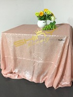 Blush Pink 90x132inch Sequin Tablecloth, 8x9ft Sequin Backdrop, 12x108 Sequin Table Runner Combination for Sale