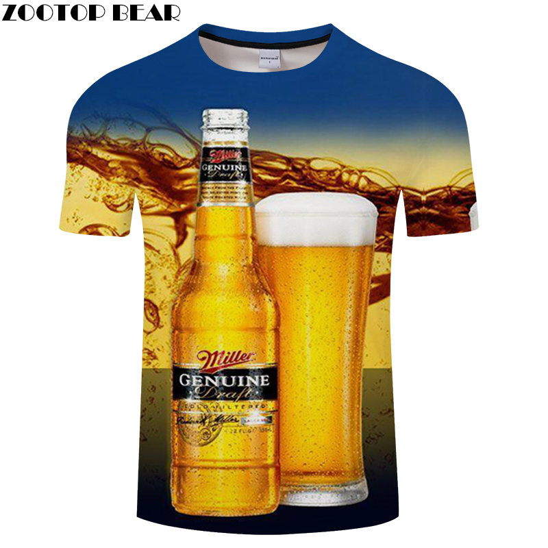 GENUINE Beer Miller Men t-shirt Casual Shirt Full Sweatshirts 2019 Loose Breathable Short Sleeves 3D Fashion Shirts ZOOTOP BEAR