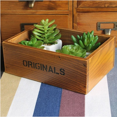 AIBEI-ZAKKA Small fleshy potted plants Wooden Box Creative desktop Cosmetics Storage Case makeup organizer