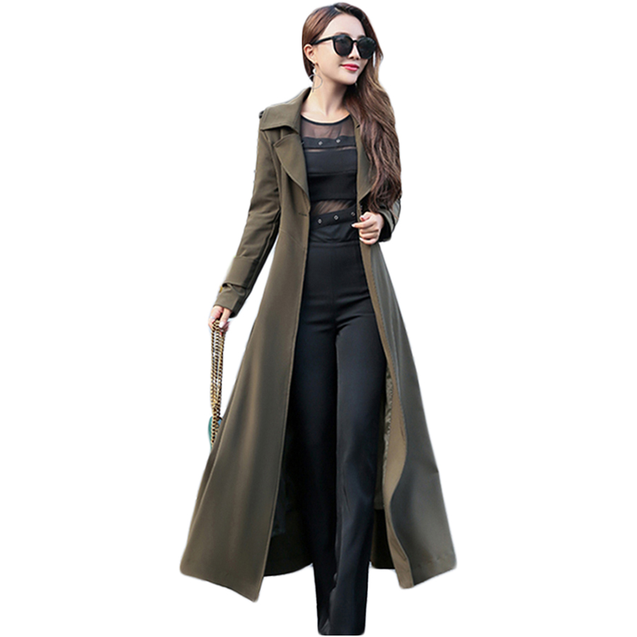 Long   Trench   Coat Plus Size Black Woman Capuche Womens Coats Outerwear Bayan Kaban Gothic Coat Casacos Feminino Clothes QF5