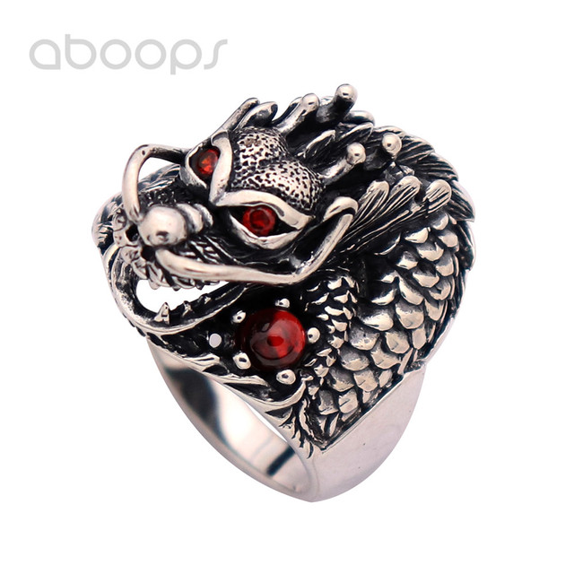 Vintage Black 925 Sterling Silver Chinese Dragon Head Ring Jewelry with Red Garnet Stones for Men Boys Size 8 9 10 11 12