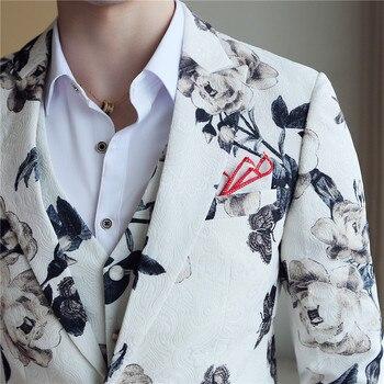 (Jaqueta + colete + calça) Marca de moda de alta qualidade Noivo Vestido de casamento Terno Banquete Terno de desempenho de palco Mens Casual Suit 1