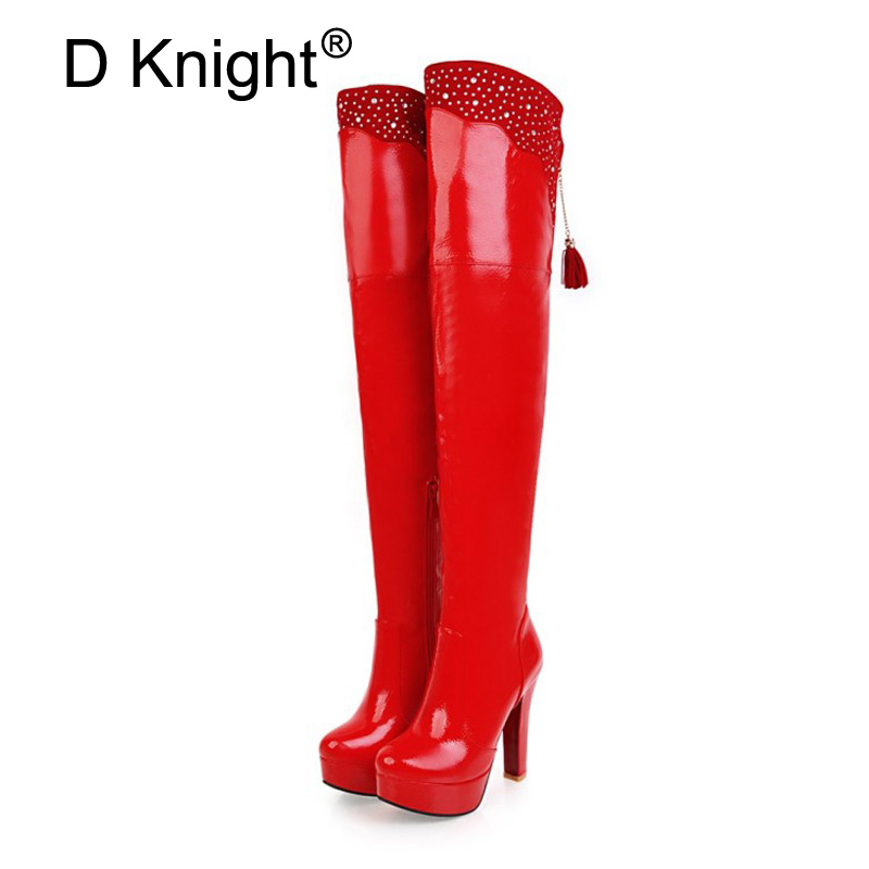 Sexy Women Over The Knee Boots High Heel Patent Leather Lady Botas Shoes Big Size 48 Steel Pole Dance Thigh High Boots For Women free shipping sm sexy patent leather queen pole dancing shoes women thigh high boots zapatos mujer boot customize big size 12cm