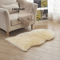 LOUTASI Fur Artificial Sheepskin Hairy Carpet for Living Room Bedroom Rugs Skin Fur Plain Fluffy Area Rugs Bedroom Faux Mats