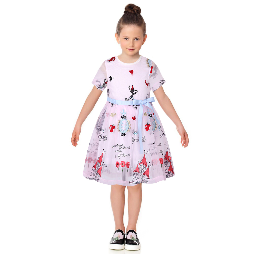 Robe Fille Enfant Toddler Girl Dresses Summer 2017 Brand Kids Dress with Sashes Character Princess Party Dress Girls Clothes new arrival princess girl dress party wedding birthday kids tutu dress for girls dresses clothes summer 2017 robe fille enfant