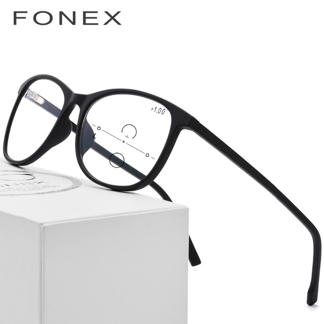 648809f8e4d TR90 Reading Glasses Women Round Computer Presbyopic Eyewear Multifocal  Progressive Eyeglasses Anti Blue Light Glasses Men