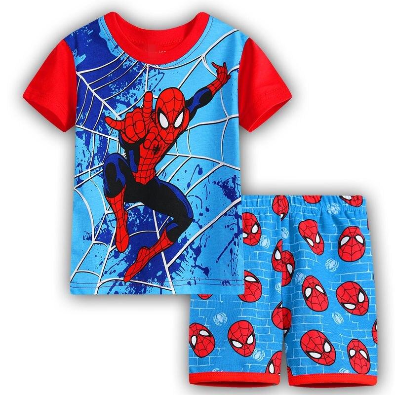 6 Kids Boys Girls Pajamas Cartoon Spider-Man Set Baby Sleepwear Cotton Superhero Costumes Shorts + Short Sleeve Tees Baby Clothing