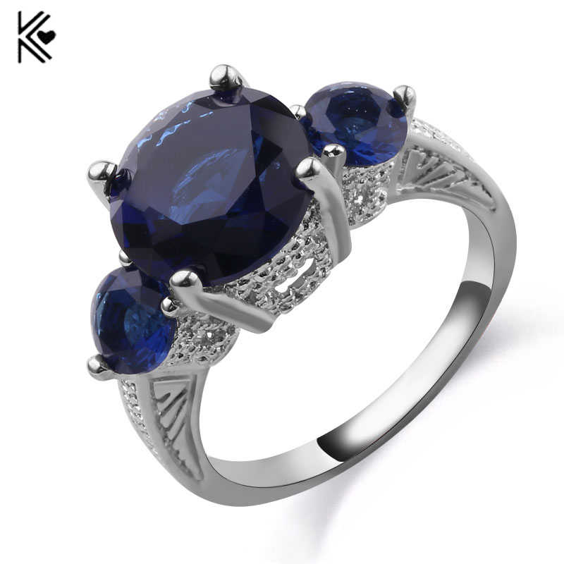 High-Fashion Three Round CZ Blue Color Fire Opal Rings For Lover Silver Filled Female Engagement Jewelry Gifts Romantic Trinkets