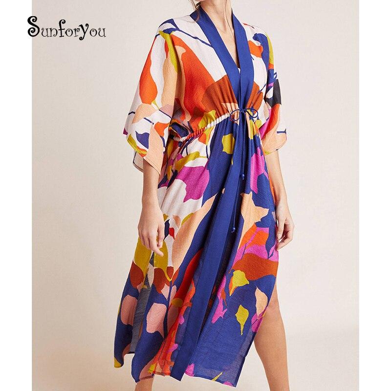 Robe Plage 2020 хлопок бохо Макси платье негабаритных женщин летнее платье туника с принтом для пляжа кафтан для женщин саронг пляжная одежда