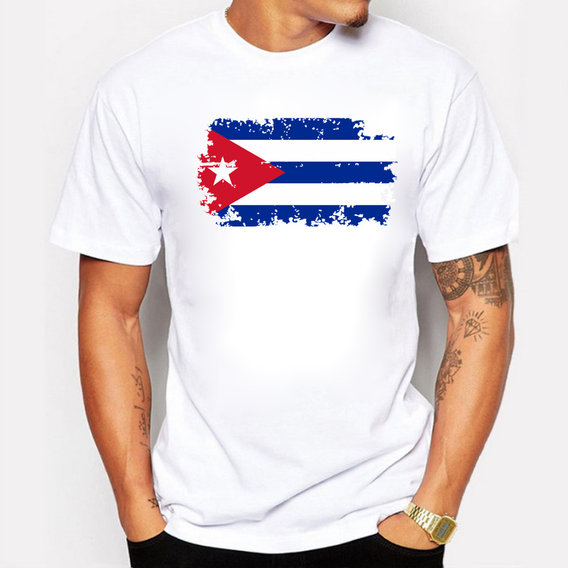 Cuba Fans Cheer Tshirts För Män Cuba National Flag Design Tee Shirts Kort bomull T-shirts Nostalgisk Style Summer Top