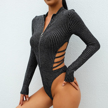 Sexy Backless Women Bodysuit Hollow Out Silver Cardigan Jumpsuits Long Sleeve Casual Bodysuits For