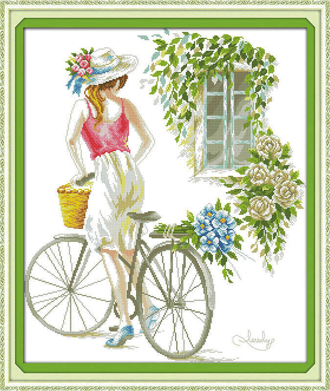Bicycle girl beautiful Printed on Canvas DMC Counted Chinese Cross Stitch Kits printed Cross-stitch set Embroidery Needlework
