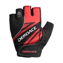 DEROACE Cycling Gloves Half Finger Summer Mountain Road Car Half Finger Gloves Shock Lycra Breat Bike Short Finger Gloves Ce half mountain