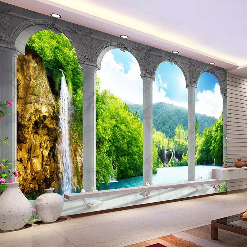 Custom Photo Wall Painting 3D Space Waterfall Nature Landscape Living Room Bedroom Background Decoration Wall Mural WallpaperCustom Photo Wall Painting 3D Space Waterfall Nature Landscape Living Room Bedroom Background Decoration Wall Mural Wallpaper