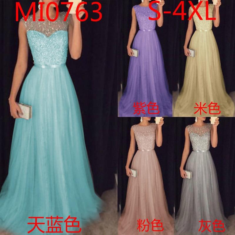 Vestido Fiesta Largo Prom Dress 2018 New Elegant O Neck Sleeveless Sequined Long Wedding Party Gowns Vestido Lentejuelas Largo  1