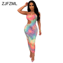 Rainbow Tie Dye Sexy Club Party Dress Women Strapless Waist Band Cut Out Bodycon Dress Summer Off Shoulder Backless Beach Dress chic off the shoulder cut out striped dress for women