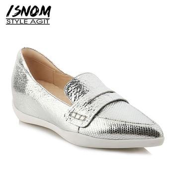 ISNOM 2019 New Spring Fashion Casual Flats Women Pointed Toe Footwear Print Insert Shoes Female Platform Sheepskin Shoes Woman