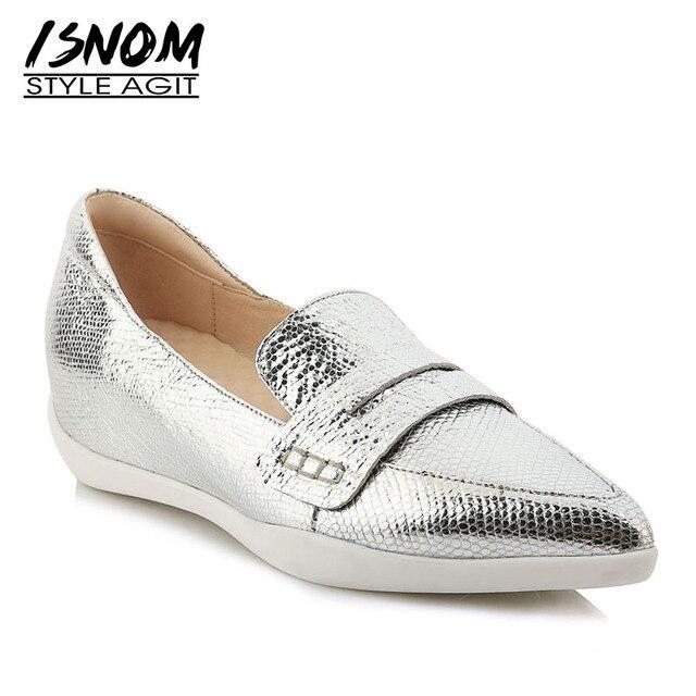09ee62433 ISNOM 2019 Nova Primavera Moda Casual Flats Mulheres Apontou Calçados Toe  Inserção Impressão Sapatos de Plataforma Feminino Sapatos de pele de  Carneiro ...