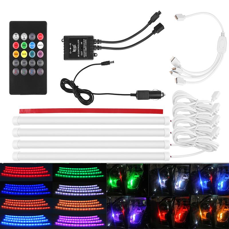Prix pour Voiture RGB LED Bande Lumière Music Control LED lights Bande 7 Couleurs Car Styling Atmosphère Lampes De Voiture Intérieur Lumière Avec à distance