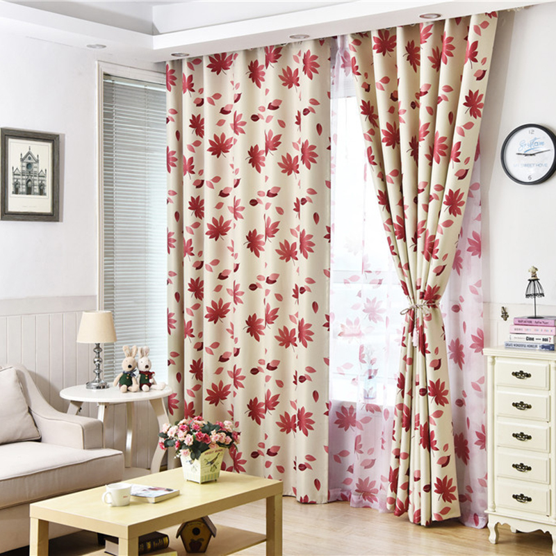 American Style Print Red Maple Leaf Curtains For Bedroom Blackout Window Treatments Tulle For Living Room Sheer Roman Blind
