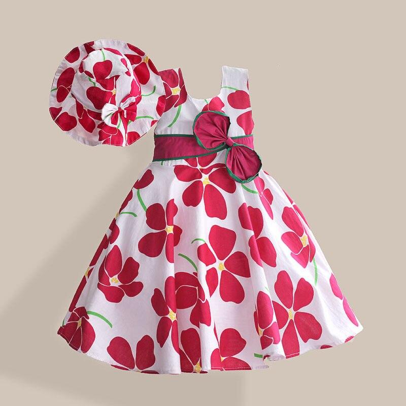 Spring Floral Print Barnklänning med mössa Gullig Bow Tie Ärmlös - Barnkläder