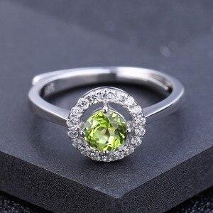 Image 2 - Женское регулируемое кольцо из серебра 925 пробы с натуральным хризолитом
