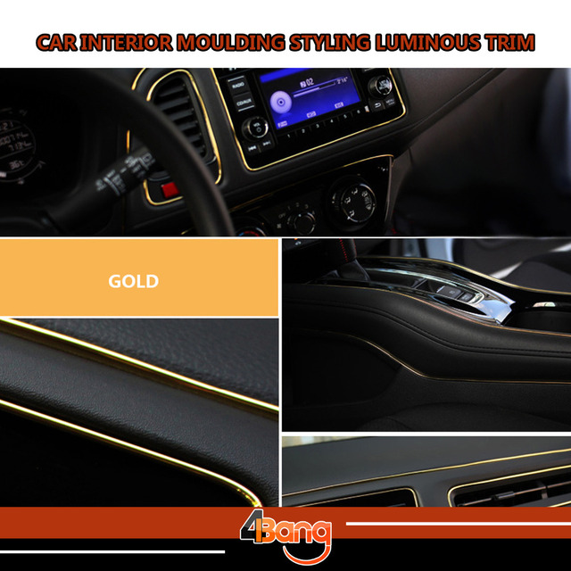 No Need Adhesive and Easy Install 15M Luminous Gold Car Interior Grille Vent Rim Moulding Decoration Styling Trim DIY Strip