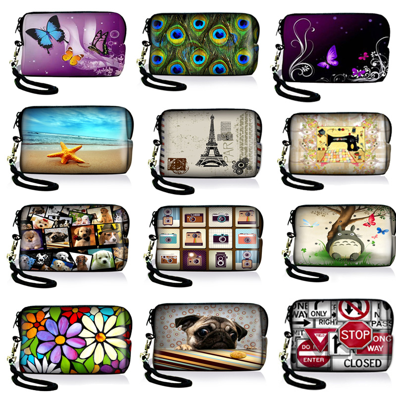 Colorful Designs Neoprene Digital Camera Case Bag Pouch Coin Purse Card Holder with Strap For Sony Samsung Nikon Canon Kodak