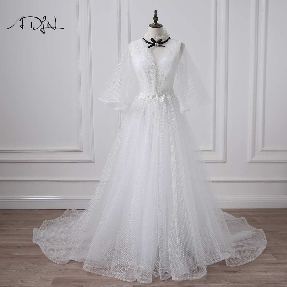 ADLN High Neck Vintage Wedding Dresses with Flare Sleeve Court Train Open Back A-line Bridal Gown