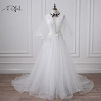 ADLN High Neck Vintage Wedding Dresses With Flare Sleeve Court Train Open Back A Line Bridal