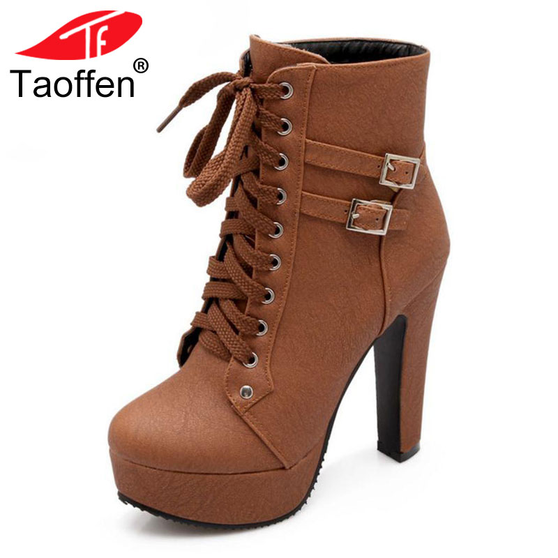 TAOFFEN Plus Size 30-50 Ankle Boots Women Platform High Heels Shoes Lace Up Shoes Woman Buckle Short Boot Casual Ladies Footwear taoffen women high platform shoes patent leather star lady casual fashion wedge footwear heels shoes size 33 48 p16184
