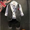 2016 Мода Мальчик Одежды Наборы Джентльмен Костюм Малышей Мальчики Одежда Набор С Длинным Рукавом Дети Мальчик Одежда Набор День Рождения Костюмы